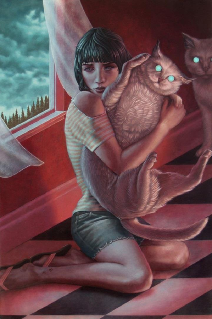 Casey Weldon - girl with a cat