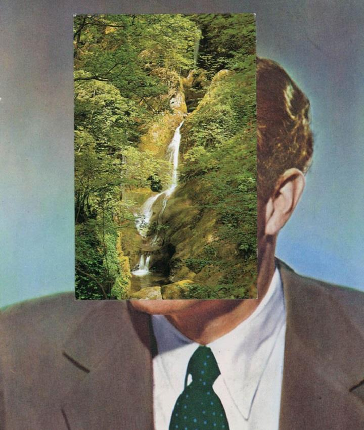 John Stezaker - face waterfall