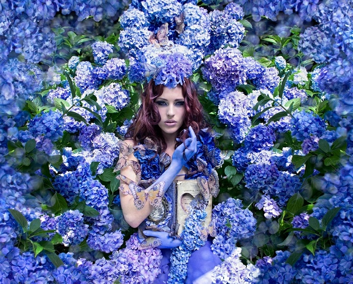 Kirsty Mitchell - blue flowers