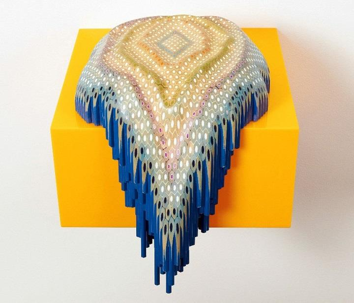 Lionel Bawden - blue pencil sculpture