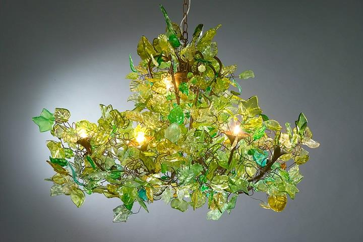 Yehuda Ozan Lighting - green leaves chandelier