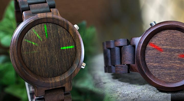 kisai link blade wood watch